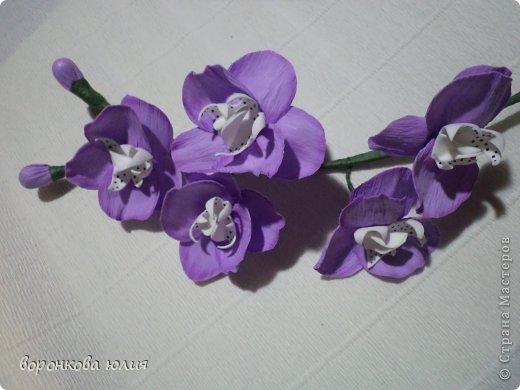 Мастер-класс Поделка изделие Моделирование конструирование цветок орхидеи из фома и как придать структуру листку без молда м к Фоамиран фом фото 31