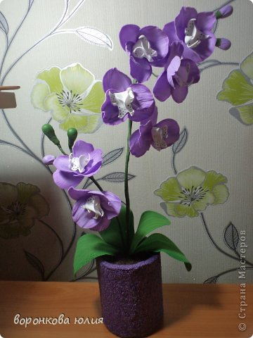Мастер-класс Поделка изделие Моделирование конструирование цветок орхидеи из фома и как придать структуру листку без молда м к Фоамиран фом фото 32