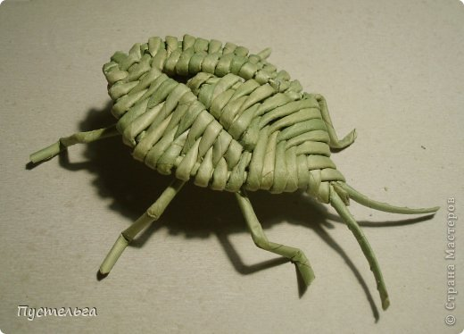 Моделью послужил клоп щитник зелёный древесный. Трубочки 30 см, около 20 штук, из них 4 коричневые. Точно так же можно сделать любого жука, только форма головы, спинки может быть другая.