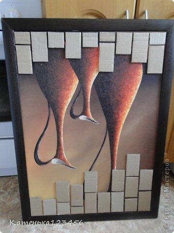 Картина панно рисунок Мастер-класс Аппликация Ассамбляж Картина Картон гофрированный Ракушки фото 3