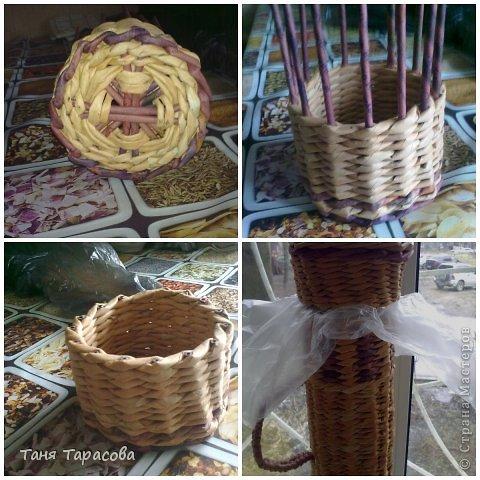 Мастер-класс Поделка изделие Плетение Шампурница из газетных трубочек Бумага газетная фото 12