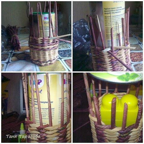 Мастер-класс Поделка изделие Плетение Шампурница из газетных трубочек Бумага газетная фото 6