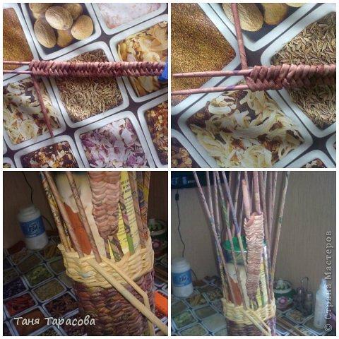 Мастер-класс Поделка изделие Плетение Шампурница из газетных трубочек Бумага газетная фото 7