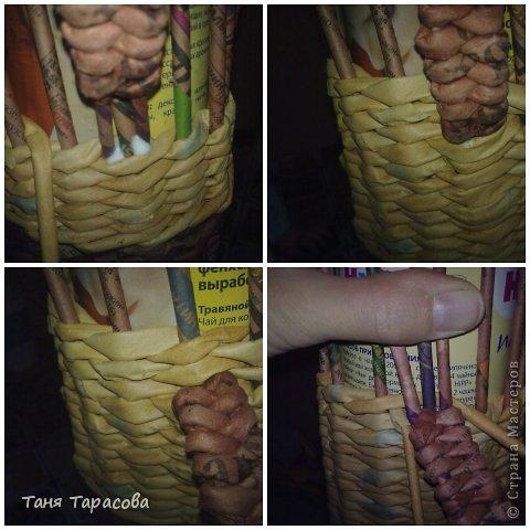 Мастер-класс Поделка изделие Плетение Шампурница из газетных трубочек Бумага газетная фото 8