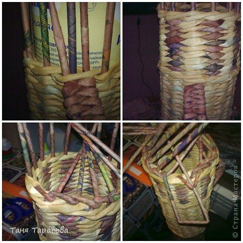 Мастер-класс Поделка изделие Плетение Шампурница из газетных трубочек Бумага газетная фото 9