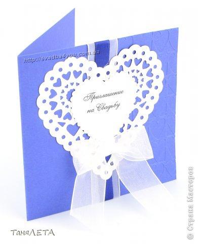 Свадебное приглашение с кружевной вырубкой и тиснением сердце фото 2