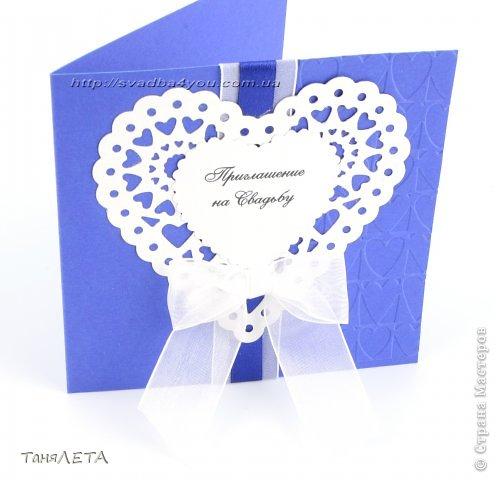 Свадебное приглашение с кружевной вырубкой и тиснением сердце фото 3