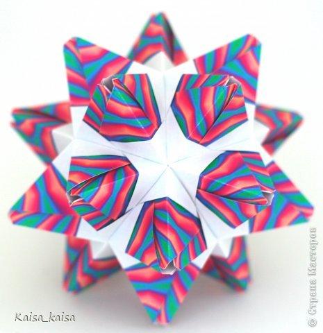 Все гениальное просто! Пример тому - Антрацит. Как же истосковалась рука по незамысловатым модулям! Радует все: и процесс сборки, и результат:) Спасибо Кате за такие чудесные модели! Итак, поехали:  Anthracite  Автор: Екатерина лукашева Бумага: офисная принт, 7,5*7,5 cm Размеры:~ 11 cm  http://www.kusudama.me/#/Crystals/Anthracite фото 1