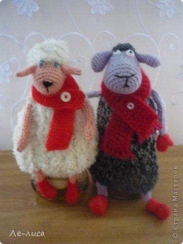 2015 -год Овцы. Пора готовить отару на подарки. Хочу поделиться своими идеями. Обыгрывать овец можно по разному, но просто игрушки мне не интересны, поскольку дети  уже выросли. Лично я люблю практичные подарки, которые пригодятся в быту.  Эти овцы- чехлы на бутылки, мы же собираемся отмечать Новый год? фото 10