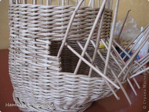 Поделка изделие Плетение Домики для лука с подробностями Трубочки бумажные фото 18