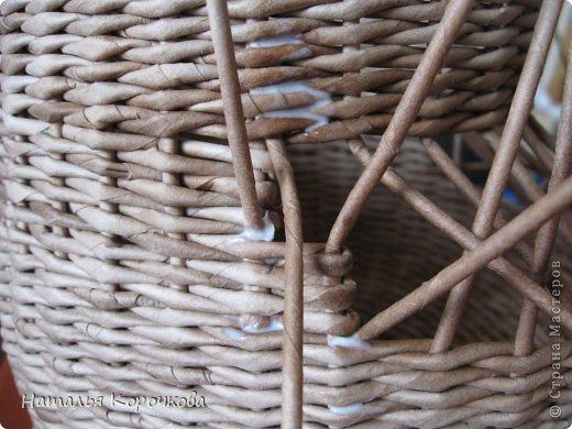 Поделка изделие Плетение Домики для лука с подробностями Трубочки бумажные фото 19