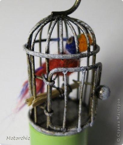Наконец-то я воплотила давнюю идею с клеткой. Теперь в ней живет полноценный житель =) Само собой, из шерсти. фото 10