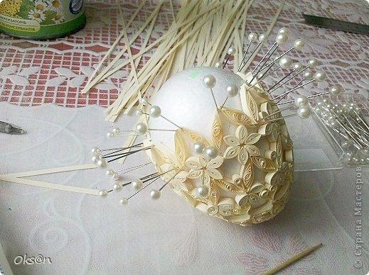 Пасхальное яйцо из бумаги, яйцо фаберже в технике квиллинг. фото 6