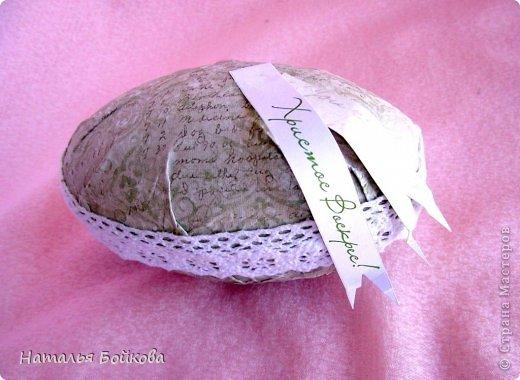 Здравствуйте, мои дорогие! приближается Пасха. И в этот день хочется сделать близким такой подарок, который будет радовать не один день, а целый год. Предлагаю вам сделать яйцо шкатулку. фото 10