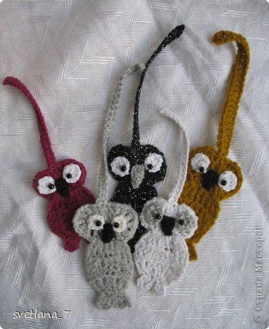 Вязанные закладки - замечательный подарок для подружек дочери.  Вязала по картинкам с интернета.  Хвостики кошек - закладки внизу книги. фото 2
