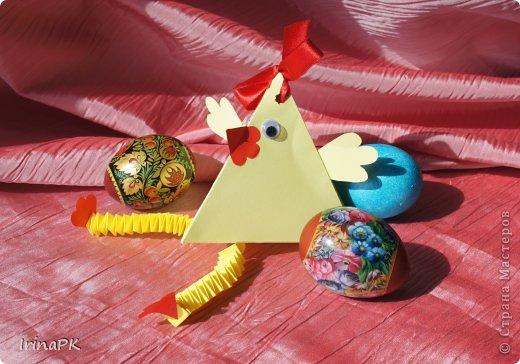 """Придумалась упаковочная коробочка-треугольник """"Курочка"""" для пасхального яйца. фото 2"""