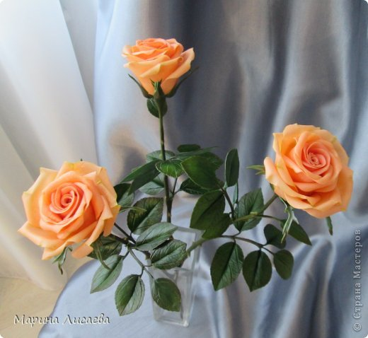 Здравствуйте, мои дорогие жители СМ! Я к вам сегодня с розами. Давно ничего не лепила, переключилась на другие виды творчества, а тут заказ. Ну и конечно вы- первые и самые компетентные судьи! фото 3