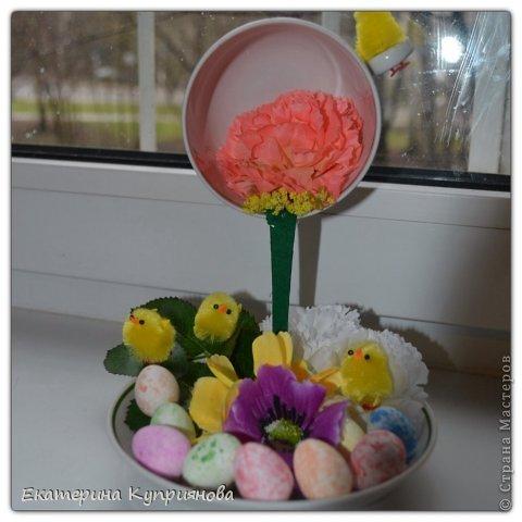 Моя первая парящая чашечка с цыплятами,конечно надо было полностью всю покрыть цветами,но мне кажется так тоже ничего смотрится...я тока учусь)) фото 2