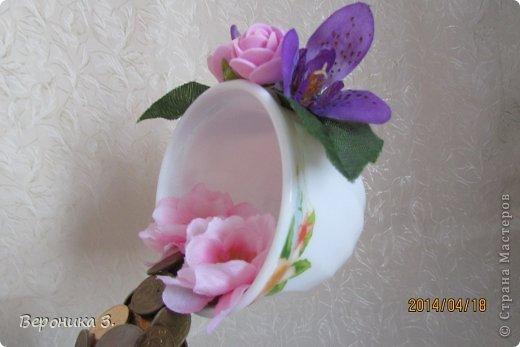 Добрый вечер. Вот мои чашечки. Идею декора цветами подчерпнула тут https://stranamasterov.ru/node/732799?c=favorite Как вам? фото 3