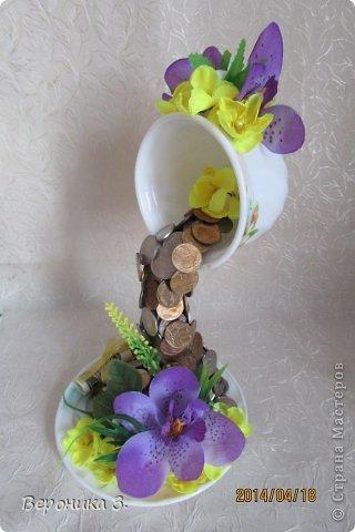 Добрый вечер. Вот мои чашечки. Идею декора цветами подчерпнула тут https://stranamasterov.ru/node/732799?c=favorite Как вам? фото 4