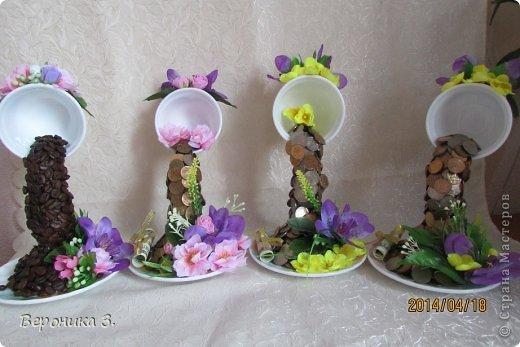 Добрый вечер. Вот мои чашечки. Идею декора цветами подчерпнула тут https://stranamasterov.ru/node/732799?c=favorite Как вам? фото 7