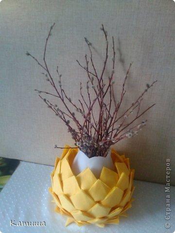 Теперь и у меня на кухне расцвел лотос! Пока это ваза к вербному, потом (если не разберут домочадцы) превращу в сухарницу ) фото 1