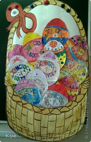 """Эти работы были представлены на конкурсе """"Пасхальная радость"""". Пасхальное дерево. Коллективная работа пятиклассников. Размер - А1. фото 3"""