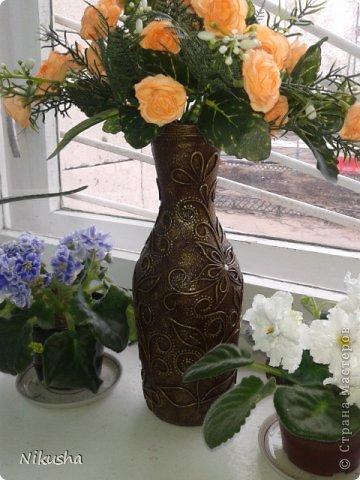 Первая работа в этой технике. Бутылочка стеклянная из-под кетчупа. Цветы искусственные. фото 9