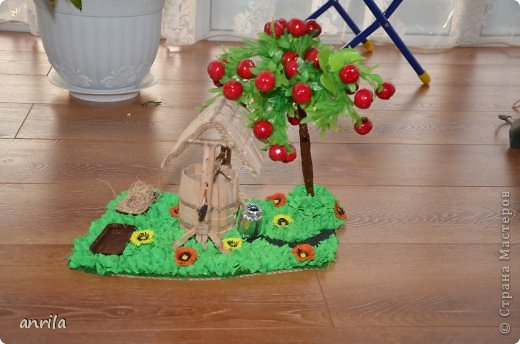 """В д/сад попросили сделать подделку для конкурса """"Огород на подоконнике"""". Решила смастерить колодец. Поискала в стране мастеров, и вот.... что получилось у меня.... фото 1"""