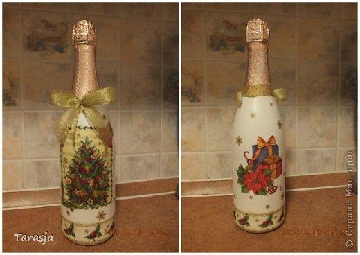 Моя первая бутылочка в подарок на Новый год. Подрисовки на ней помогал делать малыш, который активно пинал бутылку из животика, стоило мне ее туда прислонить)))) фото 4