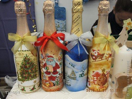 Моя первая бутылочка в подарок на Новый год. Подрисовки на ней помогал делать малыш, который активно пинал бутылку из животика, стоило мне ее туда прислонить)))) фото 5