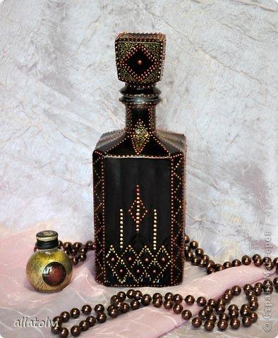 Всем доброго дня!  Показываю работы, сделанные еще в прошлом году.  Бутылка «Воронцовский замок» - так назывался напиток.  фото 2