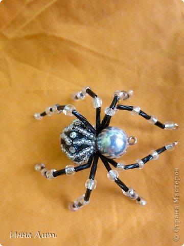 Приветствую вас,жители!Увидела на одном сайте как делать паучков  http://www.shawkl.com/2011/09/beaded-spider-tutorial.html  .Решила сама попробовать так,для смеха.Понравилось.Можно комбинировать как хочешь,какие хочешь бусины,бисер любой.Вариантов много.Их можно применить для кулона,для броши,для заколки,для брелка.Можно сделать паутинку,повесить паучка-уже панно.И главное получаются они очень красивые и все разные.В общем главное включить фантазию. фото 9