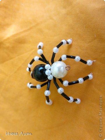 Приветствую вас,жители!Увидела на одном сайте как делать паучков  http://www.shawkl.com/2011/09/beaded-spider-tutorial.html  .Решила сама попробовать так,для смеха.Понравилось.Можно комбинировать как хочешь,какие хочешь бусины,бисер любой.Вариантов много.Их можно применить для кулона,для броши,для заколки,для брелка.Можно сделать паутинку,повесить паучка-уже панно.И главное получаются они очень красивые и все разные.В общем главное включить фантазию. фото 10