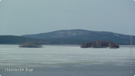 Всем привет! и отдельный привет тем, кто живет на Среднем Урале!!!!! вот у нас стало теплеть, тает лед на озере, КРАСОТА!!!!! Вот они Уральские горы! фото 2