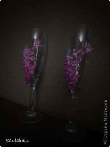 Свадебные бокалы. Полимерная глина фото 3
