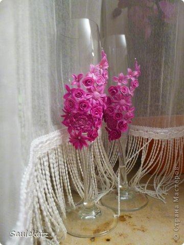 Свадебные бокалы. Полимерная глина фото 2