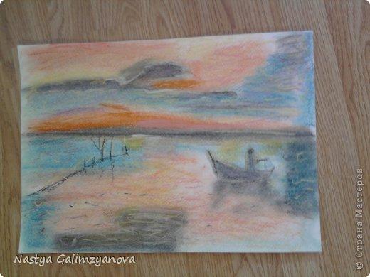 """Эту картину я написала пастелью.Её название:""""Отражение заката на водной глади реки"""" фото 1"""