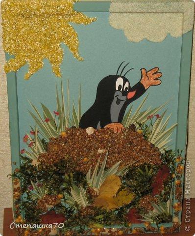 Приветствую всех, кто заглянул! Мы с сыном любим делать поделки в детский сад и любим кротиков. Сюжет взят из детской раскраски. Все остальное дело наших рук. Чего здесь только нет - гречка, пшено, манка, кукурузная крупа, горох, тыквенные и арбузные семечки, мох (с сыном из леса принесли, мыли, сушили), листья засушеные, фантазия и руки. Рамка сделана по МК https://stranamasterov.ru/node/43761?tid=451, использую во многих работах. фото 1