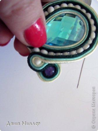 Для сережек нам понадобится: Сутаж. Я взяла трех цветов. нежно- бежевый, небесно-голубой и темно- зеленый.  На фото по 2метра, но метра вам хватит на пару сережек это точно. фото 14