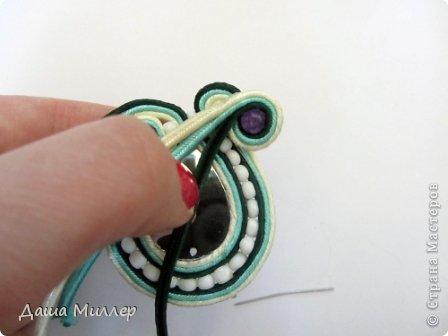 Для сережек нам понадобится: Сутаж. Я взяла трех цветов. нежно- бежевый, небесно-голубой и темно- зеленый.  На фото по 2метра, но метра вам хватит на пару сережек это точно. фото 15