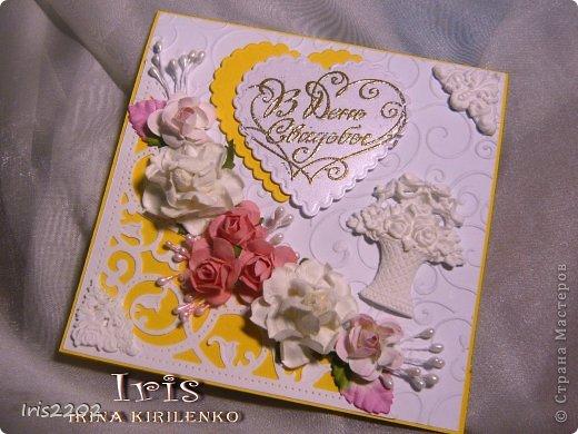 Всем доброго дня!!!  Вот вчера сделала открыточку на свадьбу... ))) решила вам показать... По желанию заказчика - она должна быть в желто-белых тонах...  Использовала: папку для тиснения, нож spellbinders и scrapberry's, молды, пластику, штампы, пудру для эмбоссинга, фен, ну и конечно цветочки, листики , тычинки...  (мои помощники - https://stranamasterov.ru/node/750211 )  Ещё пришлось совсем чуточку поработать на швейной машинке ))) ну вот - результат моих фантазий! ))) фото 2