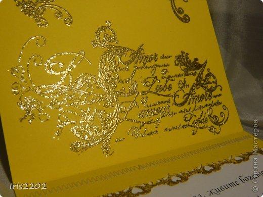 Всем доброго дня!!!  Вот вчера сделала открыточку на свадьбу... ))) решила вам показать... По желанию заказчика - она должна быть в желто-белых тонах...  Использовала: папку для тиснения, нож spellbinders и scrapberry's, молды, пластику, штампы, пудру для эмбоссинга, фен, ну и конечно цветочки, листики , тычинки...  (мои помощники - https://stranamasterov.ru/node/750211 )  Ещё пришлось совсем чуточку поработать на швейной машинке ))) ну вот - результат моих фантазий! ))) фото 3