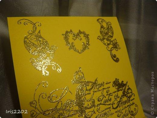 Всем доброго дня!!!  Вот вчера сделала открыточку на свадьбу... ))) решила вам показать... По желанию заказчика - она должна быть в желто-белых тонах...  Использовала: папку для тиснения, нож spellbinders и scrapberry's, молды, пластику, штампы, пудру для эмбоссинга, фен, ну и конечно цветочки, листики , тычинки...  (мои помощники - https://stranamasterov.ru/node/750211 )  Ещё пришлось совсем чуточку поработать на швейной машинке ))) ну вот - результат моих фантазий! ))) фото 4