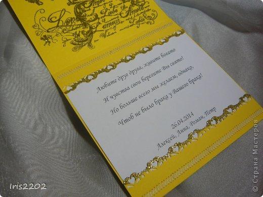 Всем доброго дня!!!  Вот вчера сделала открыточку на свадьбу... ))) решила вам показать... По желанию заказчика - она должна быть в желто-белых тонах...  Использовала: папку для тиснения, нож spellbinders и scrapberry's, молды, пластику, штампы, пудру для эмбоссинга, фен, ну и конечно цветочки, листики , тычинки...  (мои помощники - https://stranamasterov.ru/node/750211 )  Ещё пришлось совсем чуточку поработать на швейной машинке ))) ну вот - результат моих фантазий! ))) фото 5