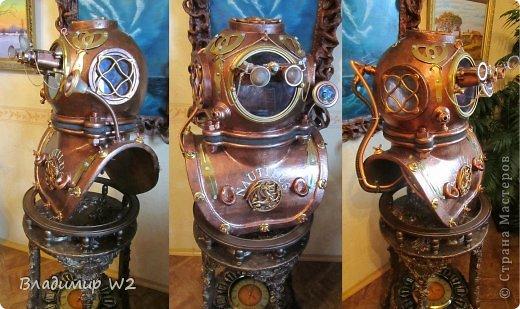 """Продолжение МК:    """"Водолазный шлем""""           https://stranamasterov.ru/node/747781           Под подставку для водолазного шлема у меня есть древняя конструкция (даже не знаю, как правильно называется) годов 50-х прошлого века, а может и ранее. Подобрал соответственно на свалке. Долго стояла в сторонке – дожидалась своего звёздного часа.            фото 21"""