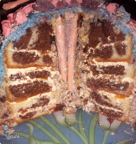 """Всем доброго времени суток. Совсем  скоро у моей дочурки день рождения. В честь этого события предусмотрительно и заблаговременно (ещё в январе) ею был заказан домашний тортик в виде фёрби (игрушка такая), а поскольку тортов я раньше не пекла, то конечно же тренировка необходима. Первый тортик я показывать не буду. Дело в том, что он был сделан на д.р. мужу и был в виде обнаженного женского бюста, а правила сайта не одобряют фото подобного содержания. Поэтому """"любуйтесь"""" на меня фото 13"""