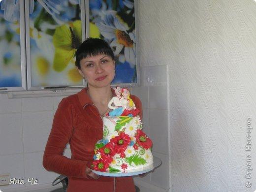 Свадебный тортик украинский. Во какой вышел. С пылу жару. Прошлой ночью вот лепила... фото 3