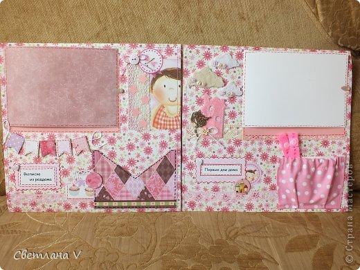 Альбом для маленькой девочки - первый год, переплет Виноградовой, обложка хлопок с синтепоном. Очень много фетра и кружева)) фото 3