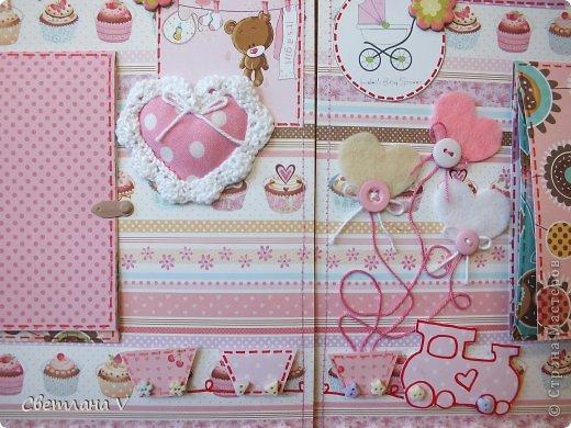 Альбом для маленькой девочки - первый год, переплет Виноградовой, обложка хлопок с синтепоном. Очень много фетра и кружева)) фото 14
